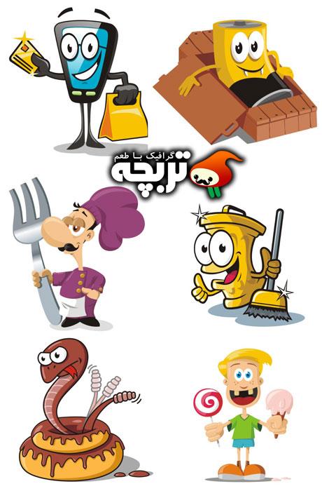 دانلود تصاویر استوک  کاراکترهای بامزه Funny Cartoon Characters Stock