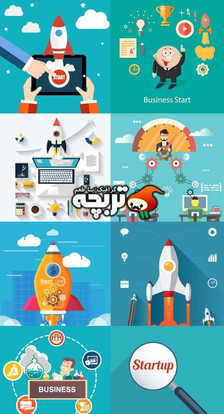 دانلود مجموعه وکتورهای استارتاپ کسب و کار Business Startup Vectors