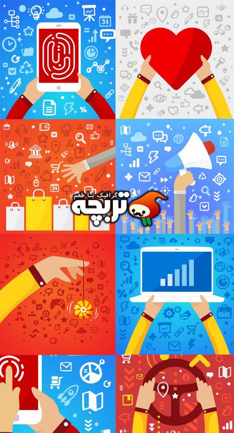 دانلود وکتورهای ابزارهای فلت طراحی اینفوگرافیک Flat Elements Of Infographic