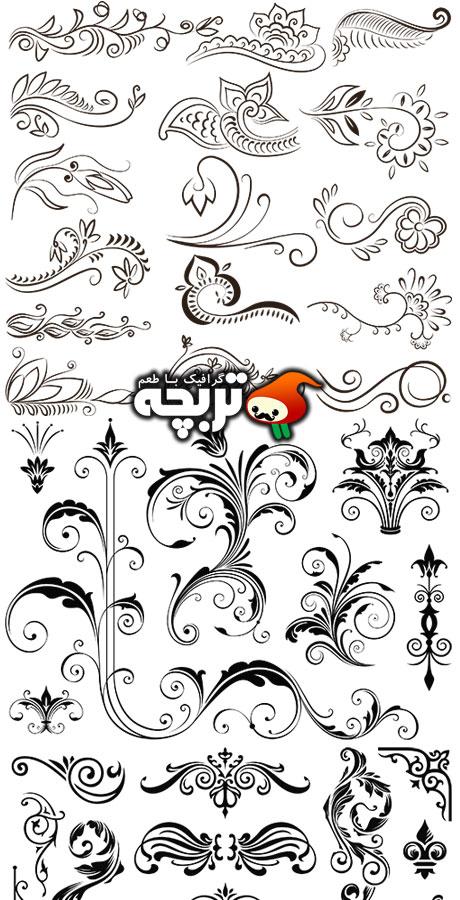 دانلود وکتورهای گل و بوته تزئینی Floral Ornament Vectors