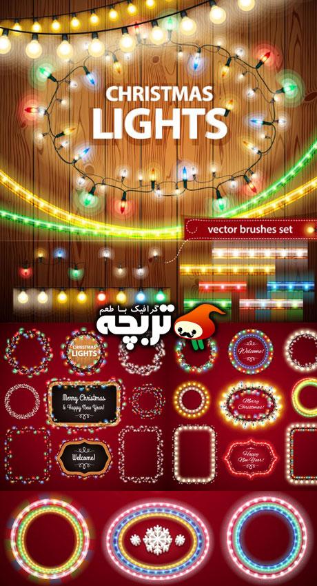 دانلود وکتور چراغ های کریسمس - Christmas Light Decorations Set