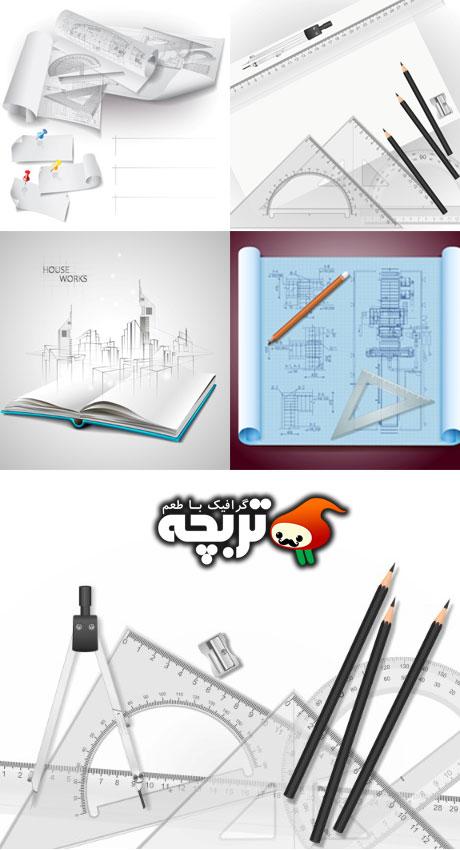 دانلود وکتور ابزار طراحی - Drawing Tools Vector