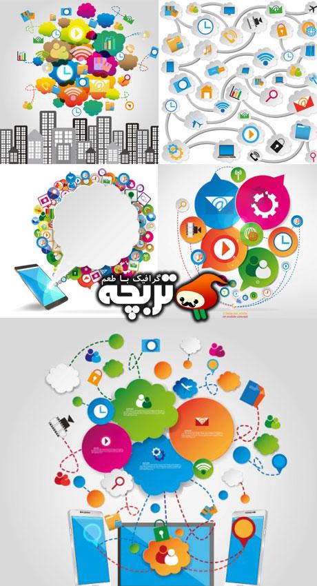 دانلود وکتورهای مفهومی شبکه اجتماعی - Social Communication Concept Vector