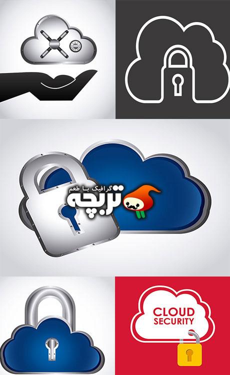 دانلود وکتور های امنیتی به شکل ابر -  Cloud Security Vectors