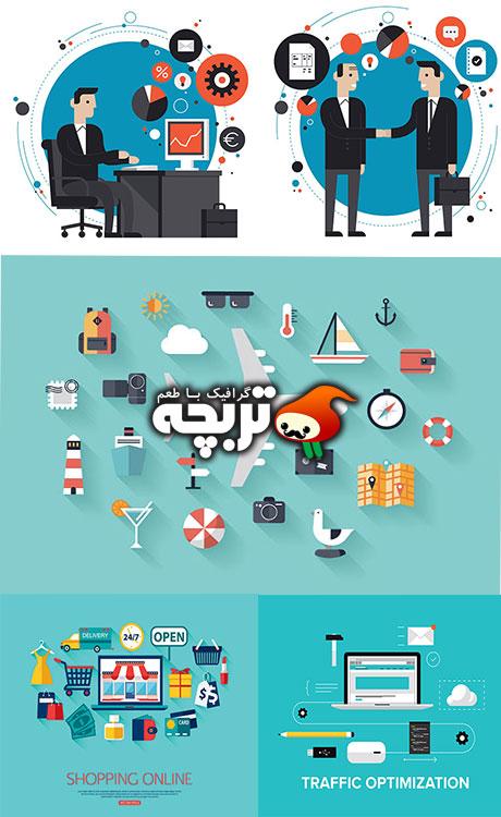 دانلود وکتور تجارت الکترونیک - Business with E-commerce