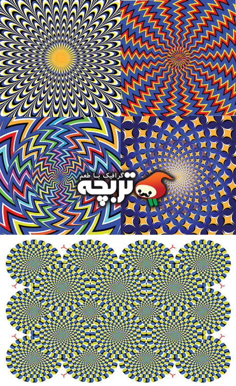 Backgrounds and elements with optical illusion ,;j,v وکتور و تصاویر خطای دید