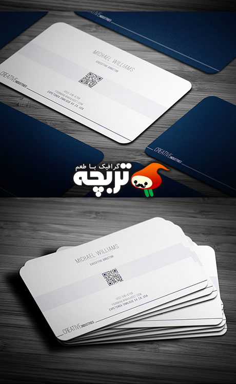 طرح لایه باز کارت ویزیت  Deep Blue Business Card