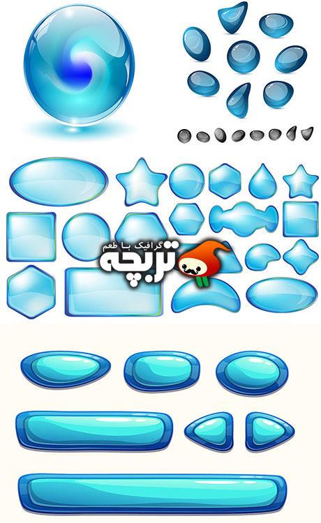المنت های شیشه ای وب web glass vector elemants