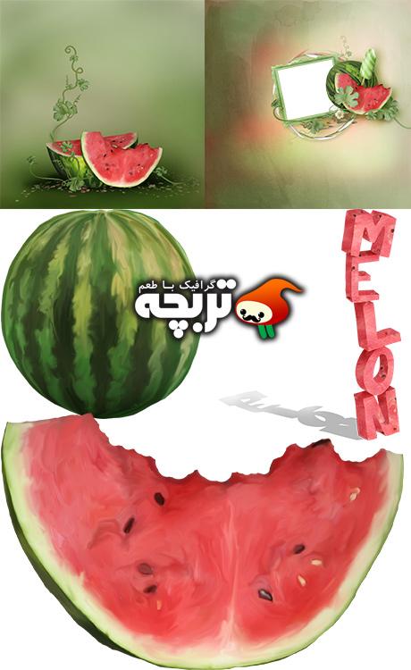 دانلود کلیپ آرت هندوانه – Scrap Set Melon Season