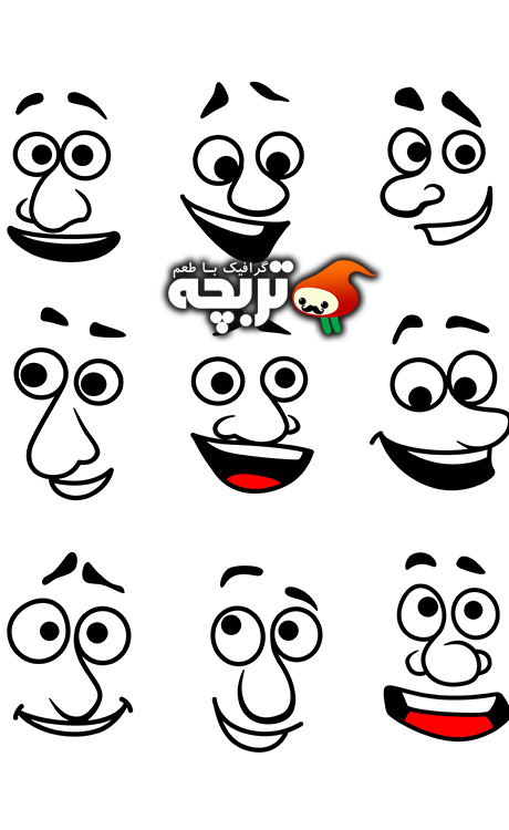 وکتور چشم دهان و صورت با لبخند Vector Mouths Eyes And Faces With Smiles