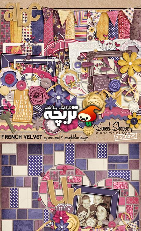 دانلود کلیپ آرت مخملی فرانسوی – French Velvet Clip Art