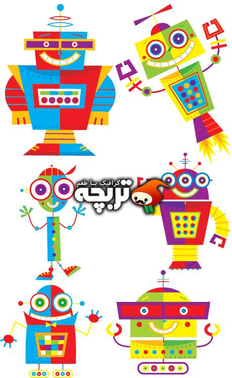وکتور روبات های کارتونی  Rockin Robots Vector