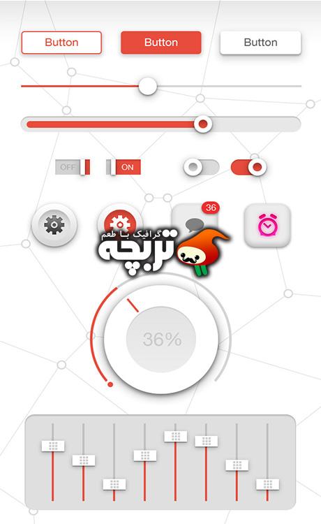دانلود طرح لایه باز رابط کاربری نرم افزاذ موبایل  Flat UI PSD
