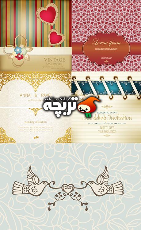 دانلود وکتورهای کارت عروسی Vector Template For Wedding