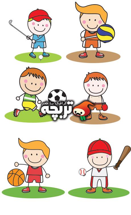 دانلود وکتورهای انیمیشنی کودکان ورزشکار Kids Sport Collection