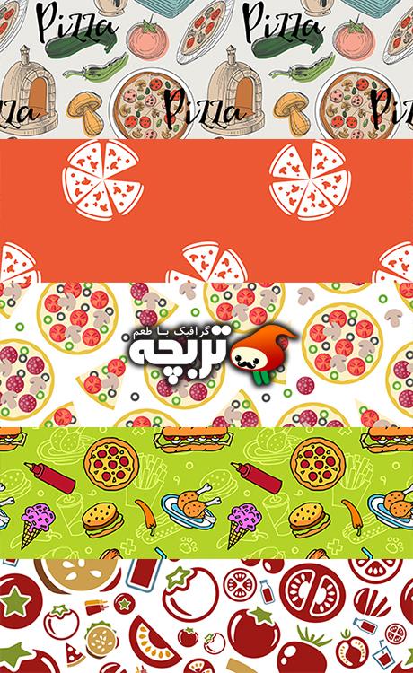 دانلود وکتور پیتزا – Pizza Patterns Set Vector