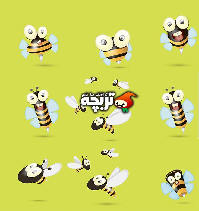 دانلود وکتورهای کارتونی زنبور عسل زیبا Cute cartoon bee