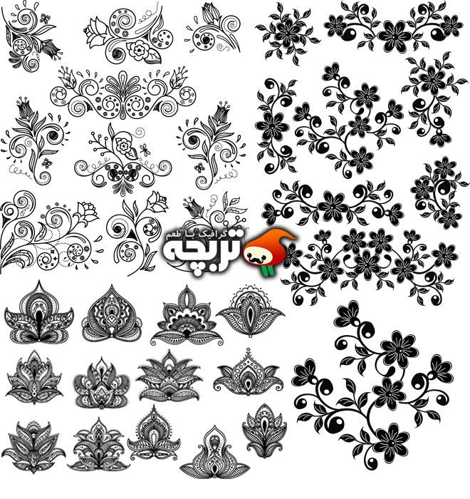 دانلود وکتور المنت های تزئیناتی گل Floral Decoration Elements