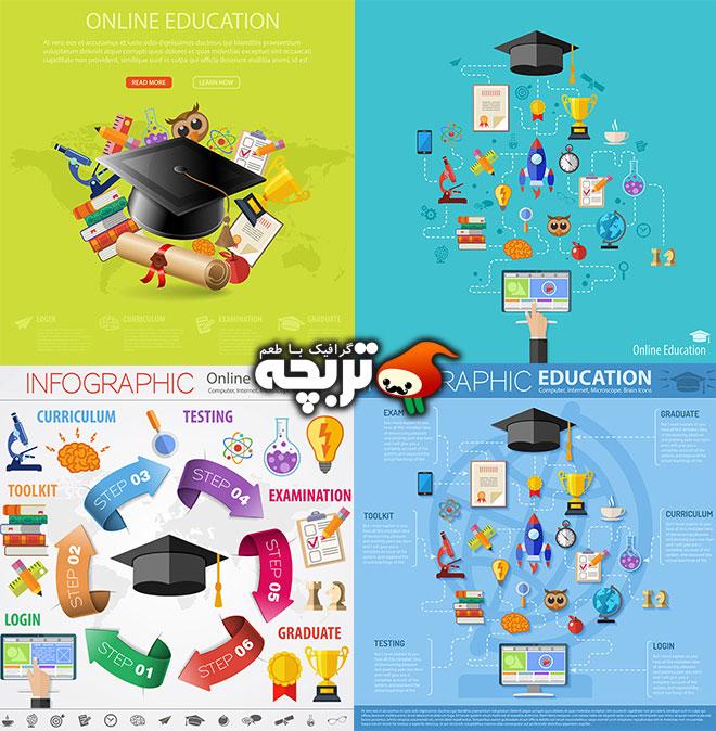 دانلود وکتورهای آموزشی اینفوگرافیک آنلاین Online Education Infographics
