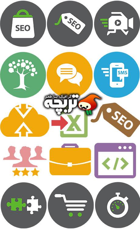 دانلود مجموعه وکتور آیکون های سئو SEO Services Icons