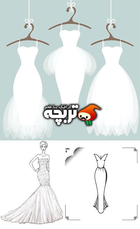 دانلود مجموعه وکتورهای لباس عروس Wedding Dresses Vector