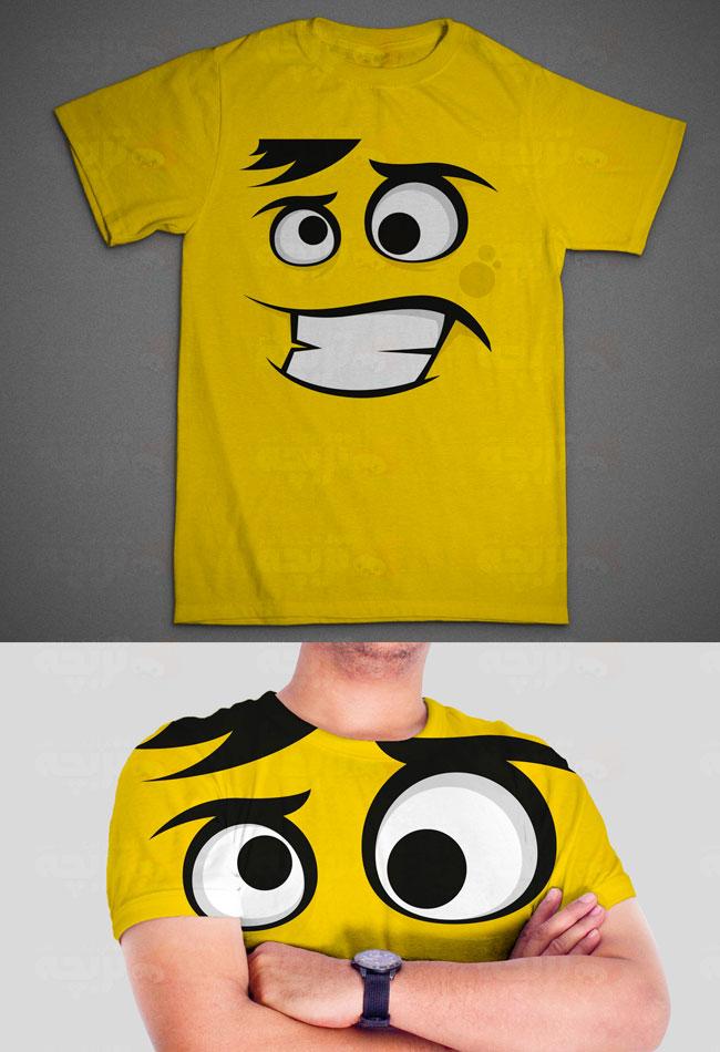 طرح تی شرت کاراکتر خندان زرد