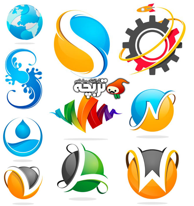دانلود وکتور لوگو المان های انتزاعی رنگی