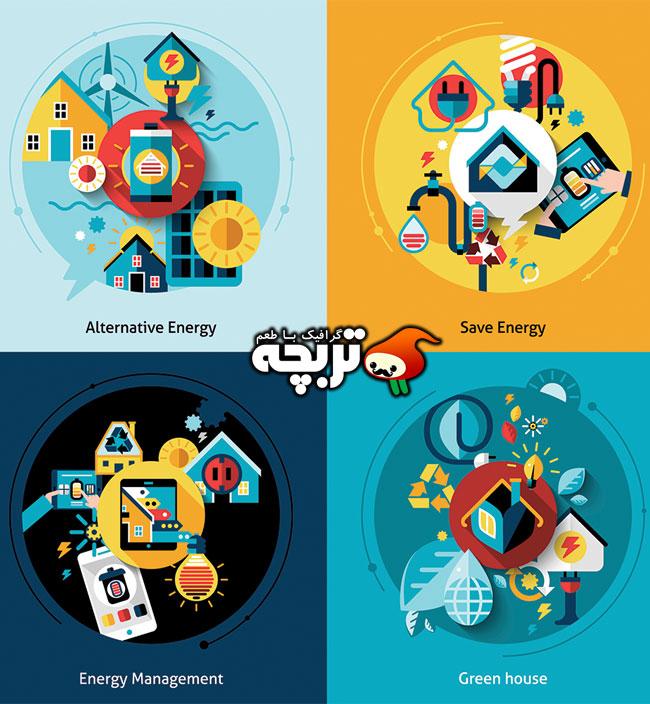 دانلود وکتور مدیریت مصرف انرژی – Energy Management Flat Design