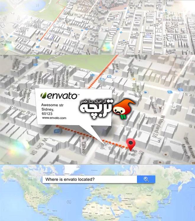 دانلود پروژه افتر افکت نمایش نقشه و مکان Map And Location Generator