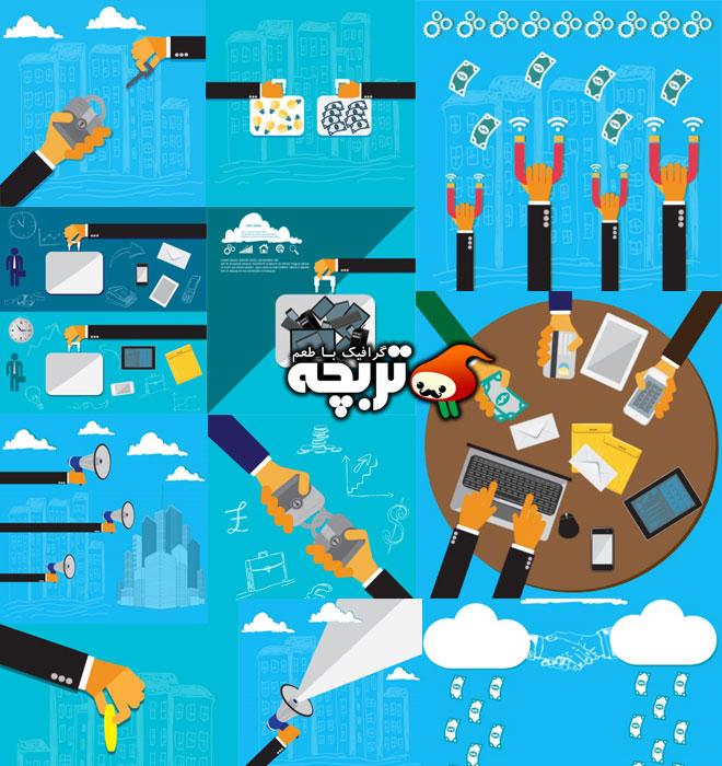 دانلود وکتورهای فلت مفهومی کسب و کار مدرن