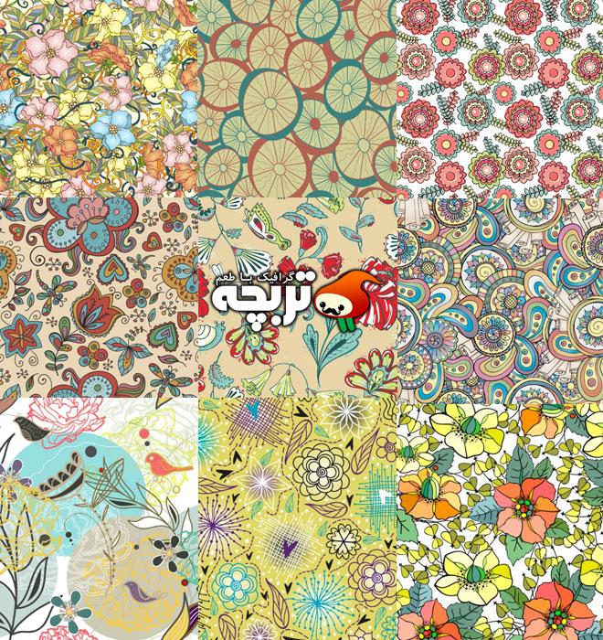 وکتور پترن های گل و بوته ای برای کاغذ دیواری
