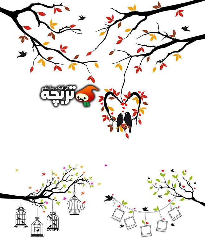 دانلود وکتور پرندگان فانتزی روی درختان
