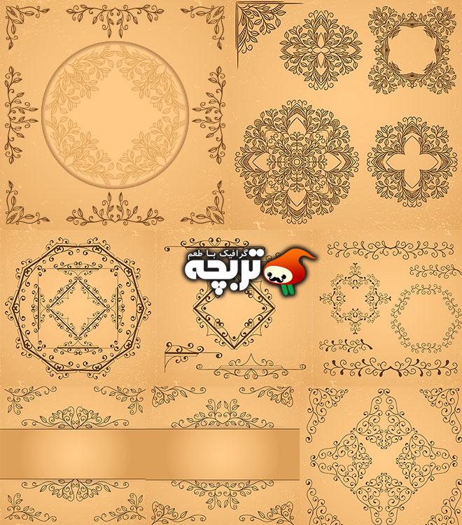 دانلود وکتور و المنت های تزئیناتی گل Decorative floral elements