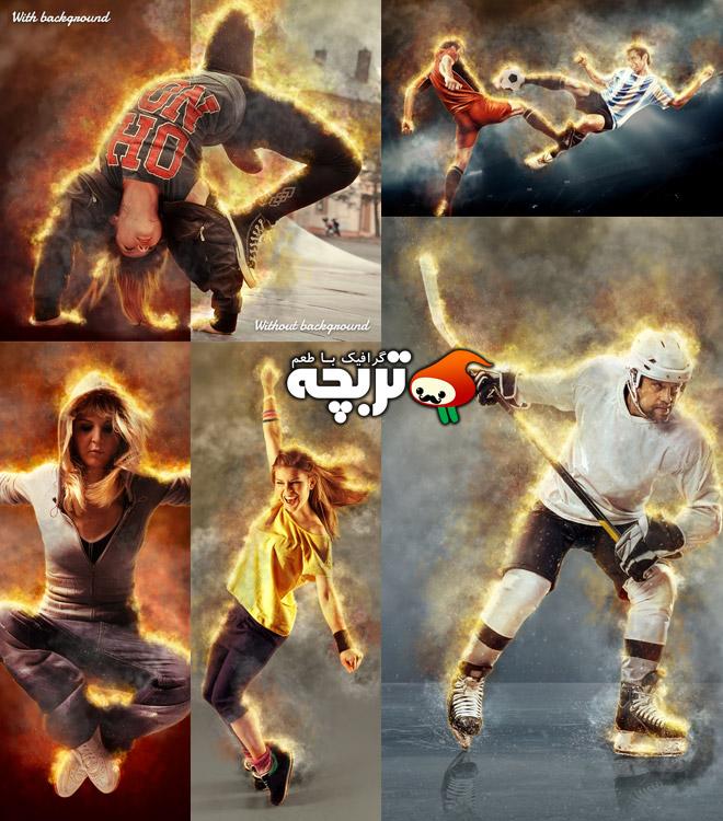 دانلود اکشن فتوشاپ افکت آتش فروزان در تصاویر