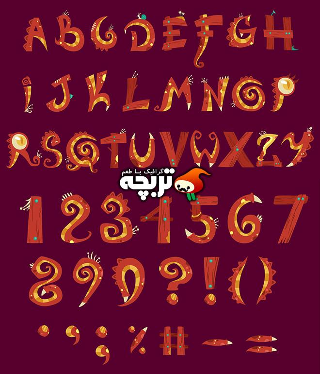 دانلود وکتور حروف و اعداد فانتزی هیولایی