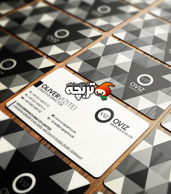 دانلود طرح لایه باز کارت ویزیت سیاه و سفید انتزاعی