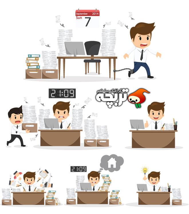 دانلود وکتورهای کارتونی کسب و کار Cartoon Businessman Vector