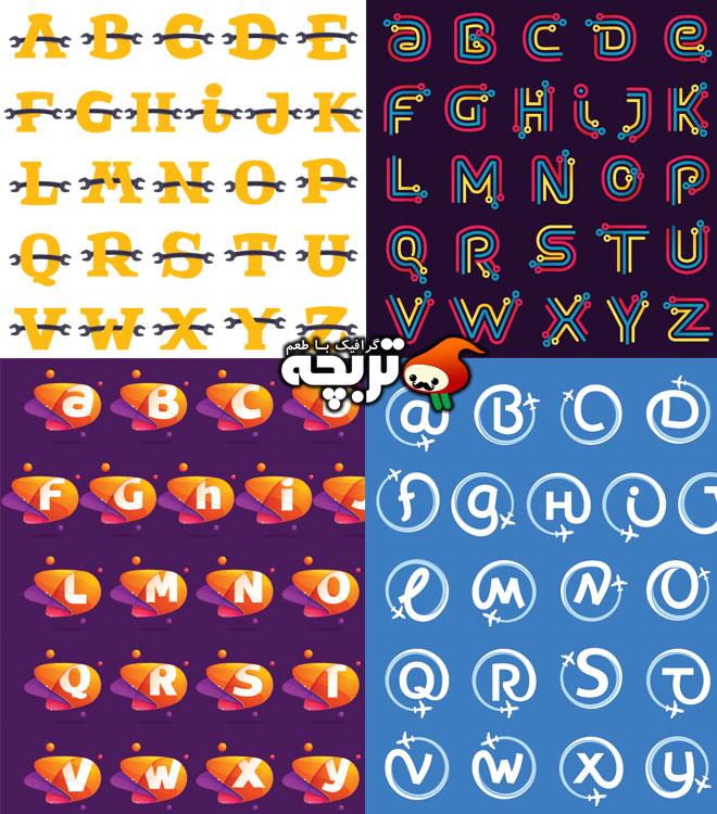 دانلود وکتورهای حروف انگلیسی خلاقانه Creative Alphabet Vectors