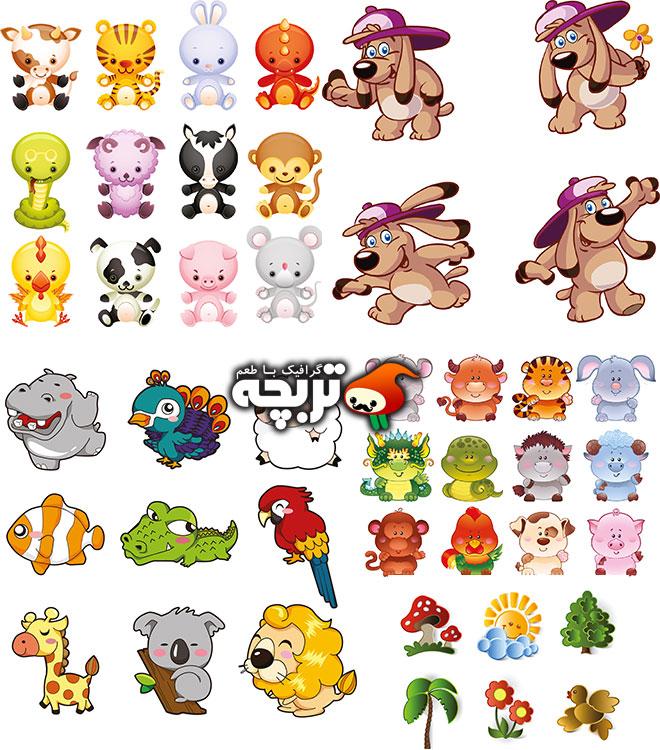 دانلود مجموعه وکتورهای حیوانات بامزه Cute Animals Vector