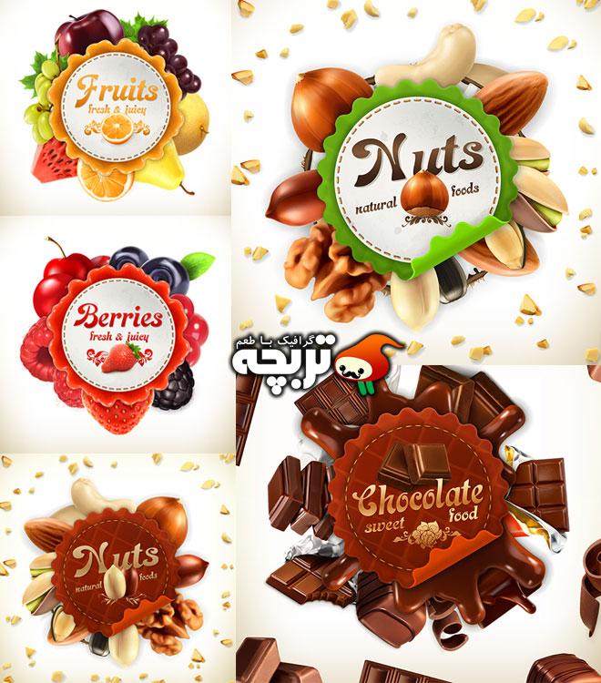 دانلود وکتور لیبل های میوه ای و تنقلات Fruits,Nuts,Chololate Lable