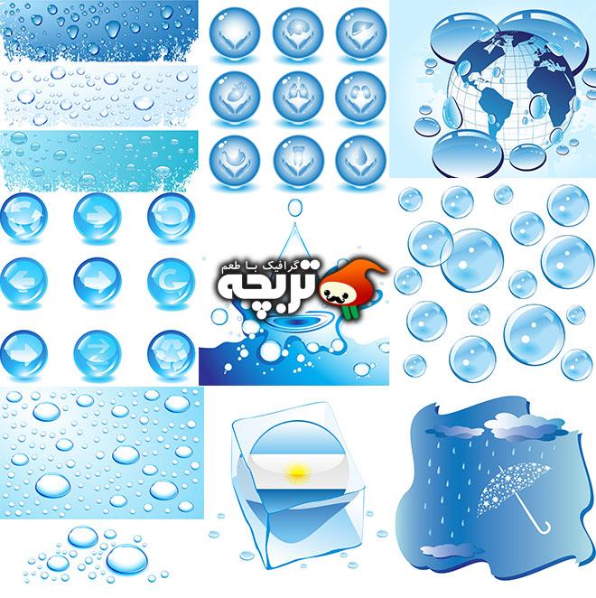دانلود مجموعه وکتورهای آیکون به شکل یخ و قطره آب به سبک انتزاعی