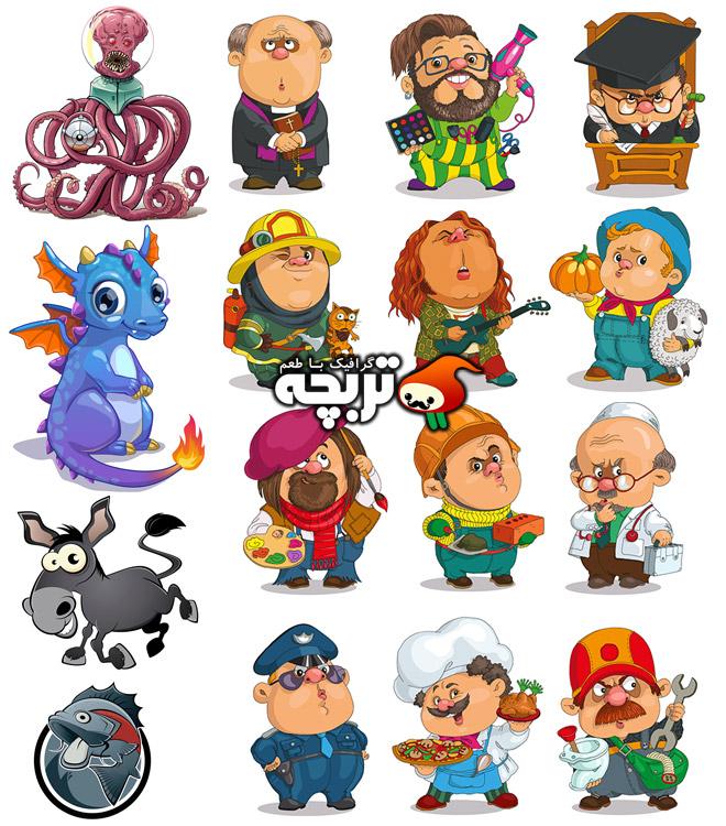 دانلود مجموعه جذاب کاراکترهای کارتونی ۱ Mix Cartoon Illustration Vector
