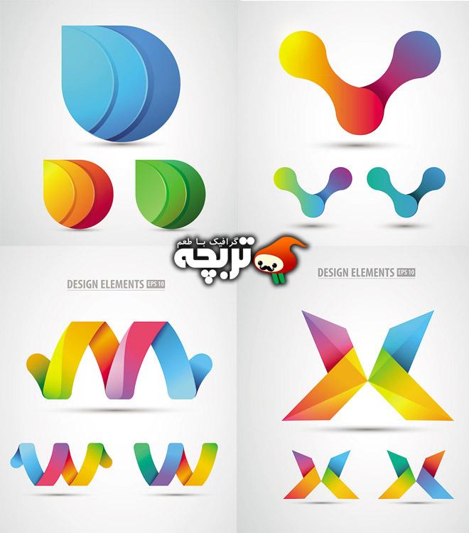 دانلود وکتور لوگو المان های اوریگامی Origami logo Vectors