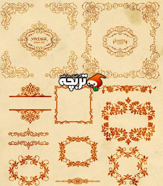 دانلود وکتور کادر و حاشیه های سنتی ۳ Ornamental Vintage Border