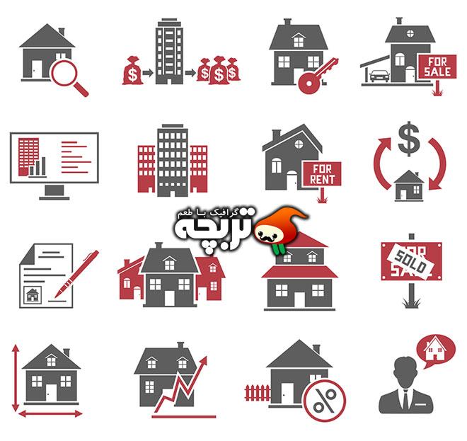 دانلود وکتور آیکون فلت خانه و املاک Real Estate Icons 1