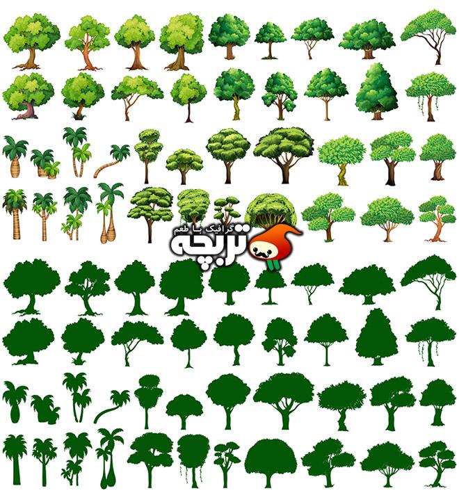 دانلود وکتور انواع درخت Green Trees Vector