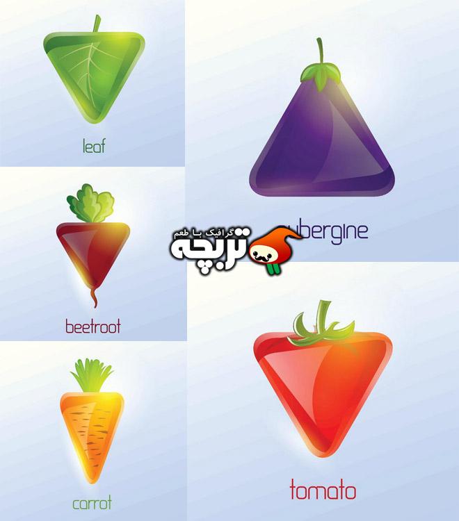 دانلود مجموعه وکتورهای فانتزی سبزیجات Triangular Vegetables Vector
