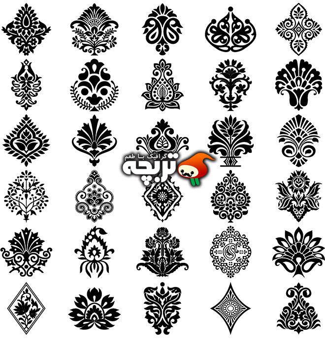 دانلود وکتورهای تزئیناتی گل و المان های سنتی