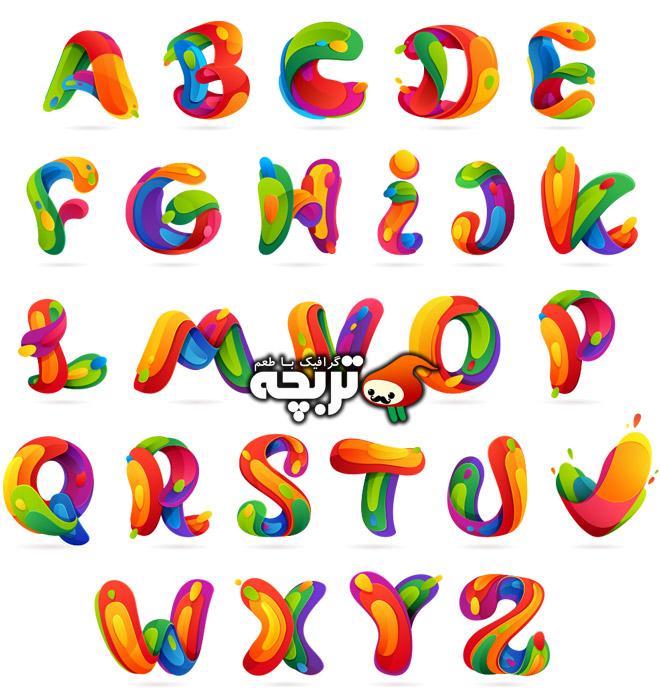 دانلود مجموعه وکتورهای حروف انگلیسی انتزاعی ۱