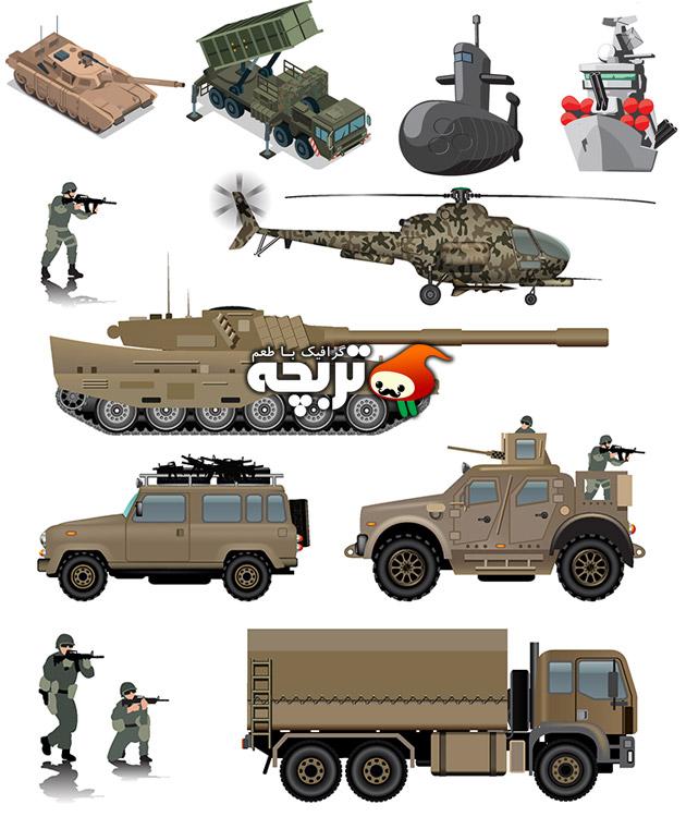دانلود وکتور تجهیزات جنگی و نظامی